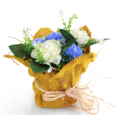 Artificial roses, round burlap basket