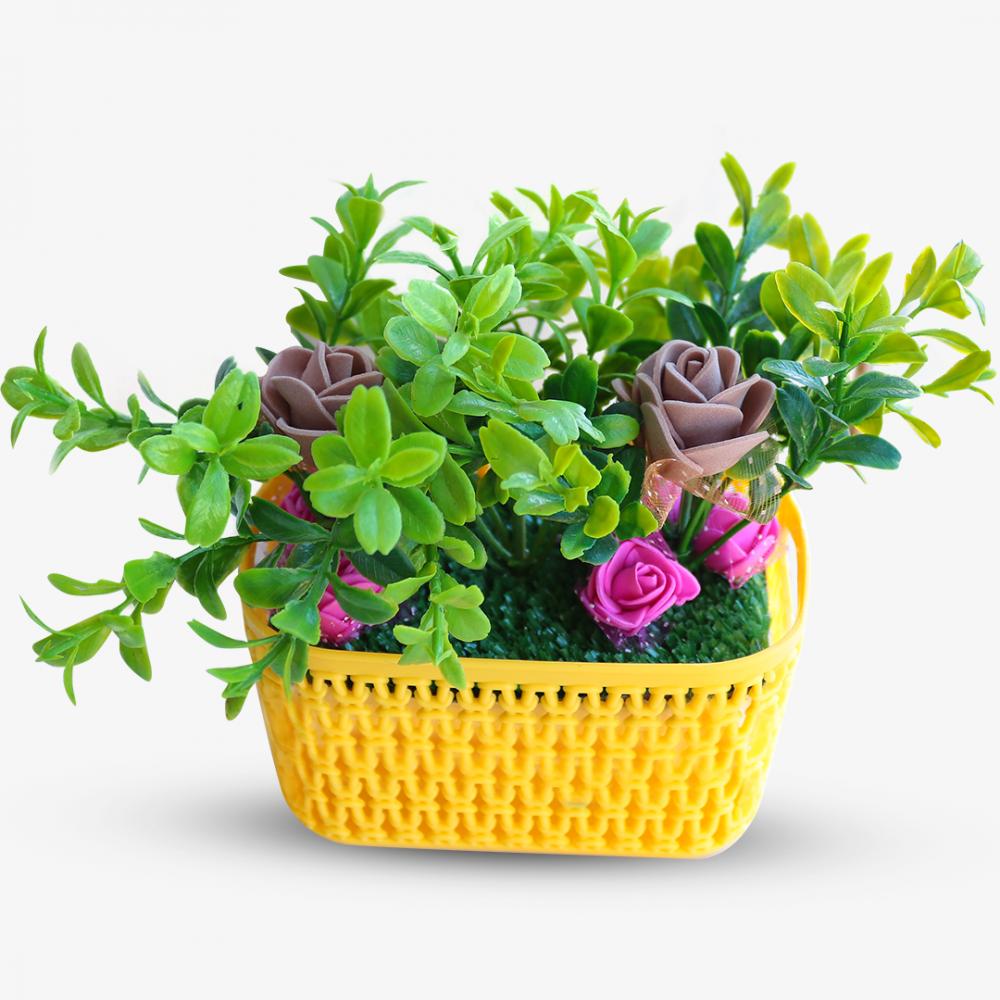 Artificial flower Rectangular Basket