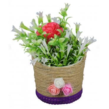 Artificial Rose Wrap round basket